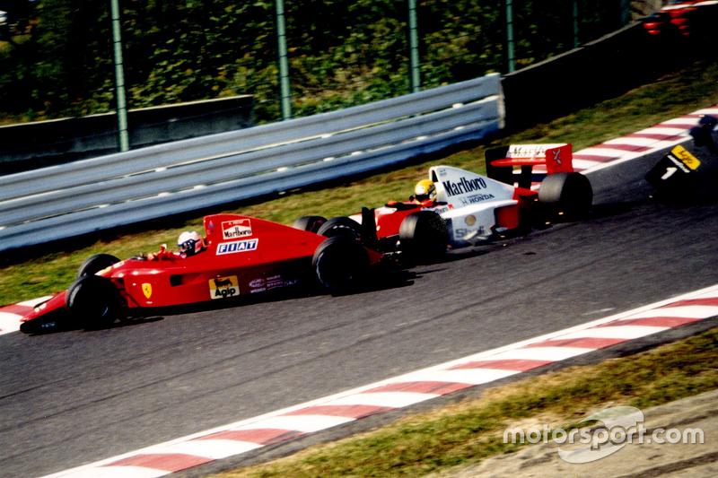 Alain Prost, Ferrari et Ayrton Senna, McLaren, s'accrochent au premier virage
