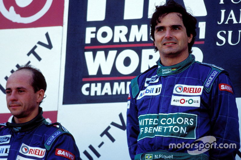 Podium: race winner Nelson Piquet, Benetton, second place Roberto Moreno, Benetton