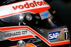 Helmet of Fernando Alonso, McLaren Mercedes, with Steinmetz Diamonds