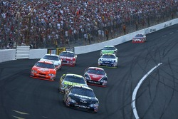 Mark Martin (01) leads eventual winner Casey Mears (25) into Turn 1