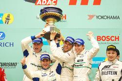 Podium: race winners Romain Dumas, Marcel Tiemann, Marc Lieb, Timo Bernhard