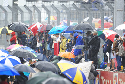 Fans wait for the podium ceremonies