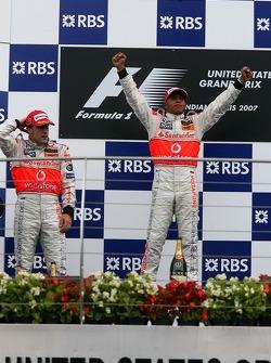 2nd place Fernando Alonso, McLaren Mercedes and 1st place Lewis Hamilton, McLaren Mercedes