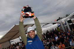 Marco Melandri shows off his helmet