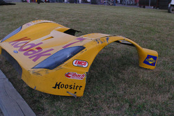 The damaged front end from #77 Feeds The Need/ Doran Racing Ford Doran: Memo Gidley, Guy Cosmo
