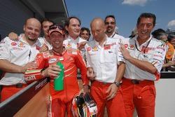 Loris Capirossi celebrates second place