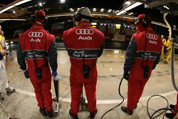 Audi Sport Team Joest team members wait for the #3 car