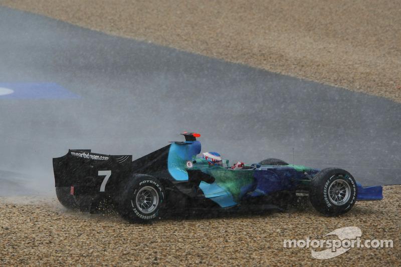 Jenson Button, Honda Racing F1 Team, RA107, spun and crashed after a torrential downpour