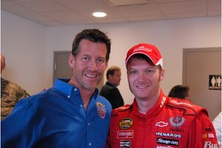 Dale Earnhardt Jr. with actor and Allstate 400 at the Brickyard Grand Marshall James Denton