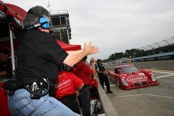 Gainsco Bob Stallings Racing team members celebrate the pole of Jon Fogarty