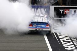 Race winner Kurt Busch celebrates