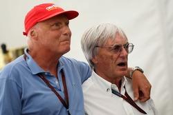 Niki Lauda, Former F1 world champion and RTL TV pundit with Bernie Ecclestone