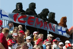 Kimi Raikkonen, Scuderia Ferrari fans dressed up as gorillas