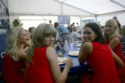 The grid girls visit GP2 hospitality for breakfast
