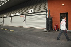 After walking the circuit Lewis Hamilton, McLaren Mercedes finds his the McLaren garage is closed for the evening