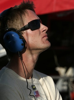 Ryan Hunter-Reay watches the end of the race with a few laps to go