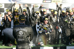Victory lane: race winner Clint Bowyer celebrates