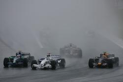 Jenson Button, Honda Racing F1 Team, RA107, Nick Heidfeld, BMW Sauber F1 Team, F1.07 and Mark Webber, Red Bull Racing, RB3
