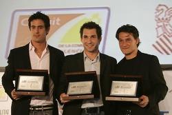 2007 GP2 Series Champion Timo Glock with Lucas di Grassi and Giorgio Pantano
