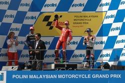 Podium: race winner Casey Stoner, second place Marco Melandri, third place Dani Pedrosa