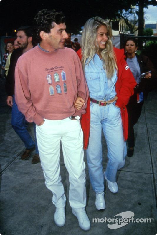 Ayrton Senna with his girlfriend Adriane Galisteu at Italian GP