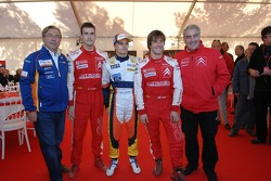 Daniel Sordo, Heikki Kovalainen y Sébastien Loeb