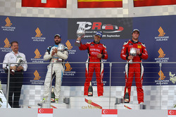 Race 2 Podium: 1st position Jordi Gene, SEAT Leon, Team Craft-Bamboo LUKOIL, 2nd position Stefano Comini, SEAT Leon, Target Competition and 3rd position Pepe Oriola, SEAT Leon, Team Craft-Bamboo LUKOIL