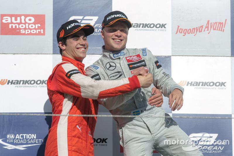 Podium: winner Felix Rosenqvist, Prema Powerteam, second place Lance Stroll, Prema Powerteam