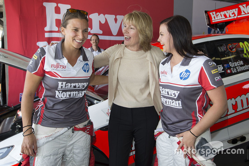 Renee Gracie and Simona de Silvestro, Prodrive Racing Australia Ford with  with Katie Page, CEO of Harvey Norman
