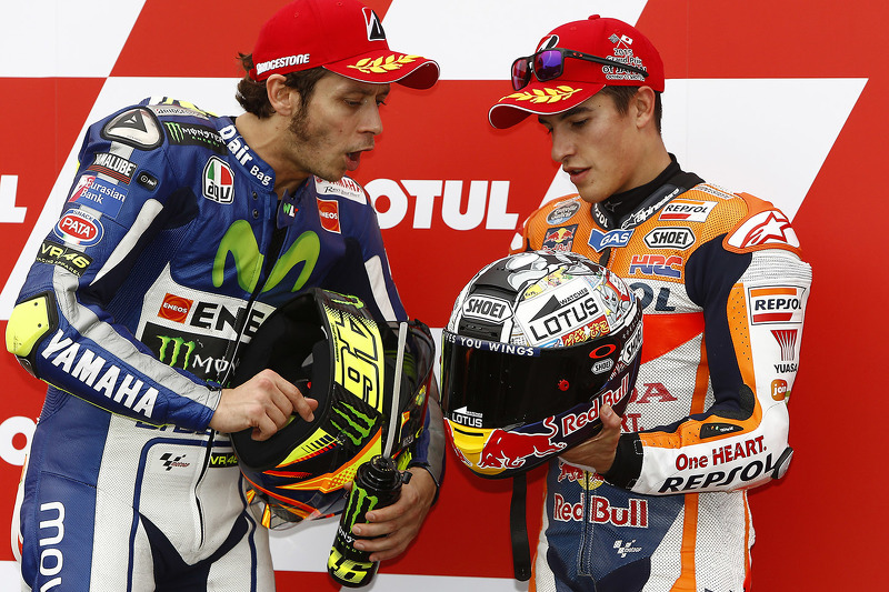 Qualifying: second place Valentino Rossi, Yamaha Factory Racing, third place Marc Marquez, Repsol Ho