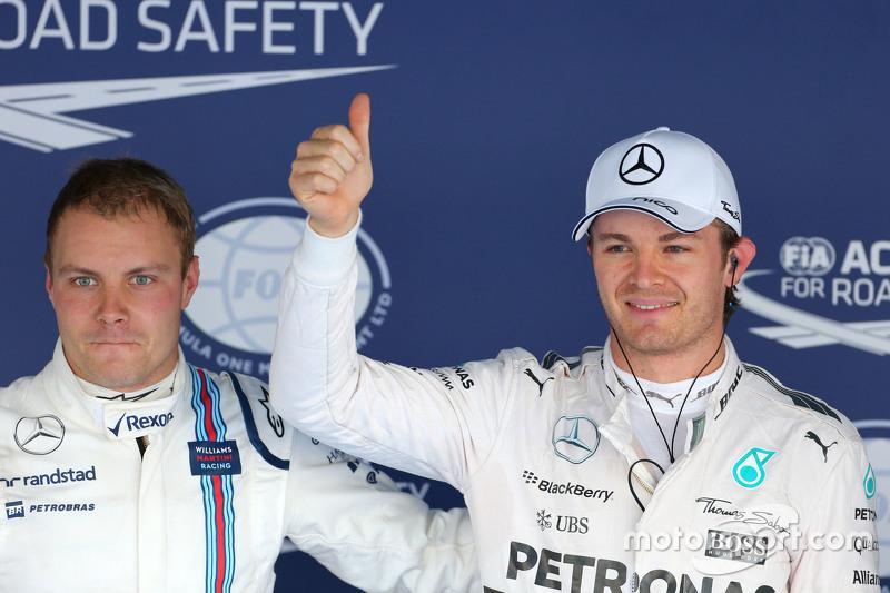 Valtteri Bottas, Williams F1 Team and Nico Rosberg, Mercedes AMG F1 Team