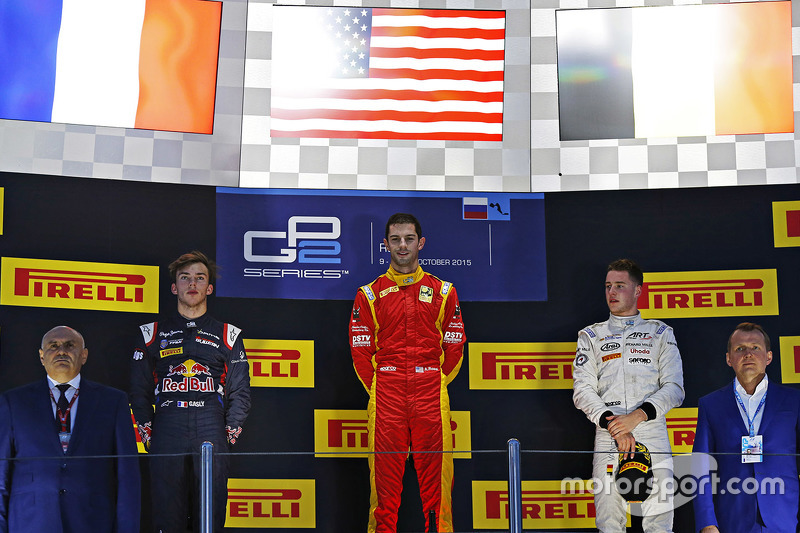 Podium: race winner Alexander Rossi, Racing Engineering, second place Pierre Gasly, DAMS, third place Stoffel Vandoorne, ART Grand Prix