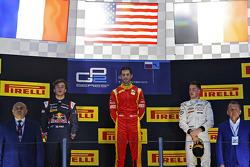 Podium : le vainqueur Alexander Rossi, Racing Engineering, le deuxième Pierre Gasly, DAMS, le troisième Stoffel Vandoorne, ART Grand Prix