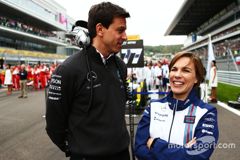 (L to R): Toto Wolff, Mercedes AMG F1 Shareholder and Executive Director with Claire Williams, Willi