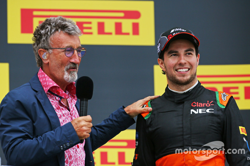 (L to R): Eddie Jordan, BBC Television Pundit with third placed Sergio Perez, Sahara Force India F1 on the podium