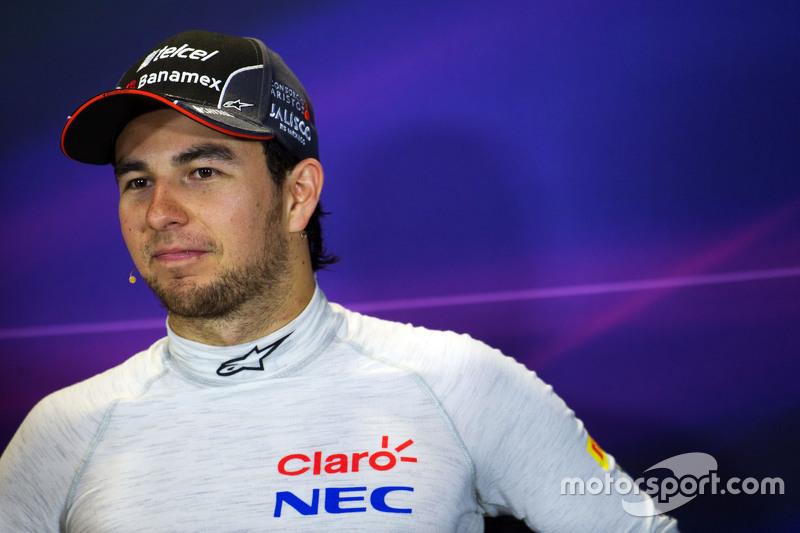 Sergio Perez, Sahara Force India F1, in der FIA-PK
