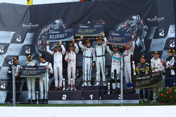 Podium: winners Maximilian Buhk, Vincent Abril, second place Christopher Mies, Robin Frijns, third place Nicki Thiim, Frédéric Vervisch