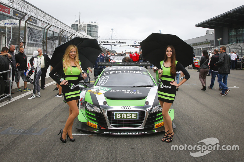 Grid girls for #16 Yaco Racing Audi R8 LMS ultra: Rahel Frey, Philip Geipel