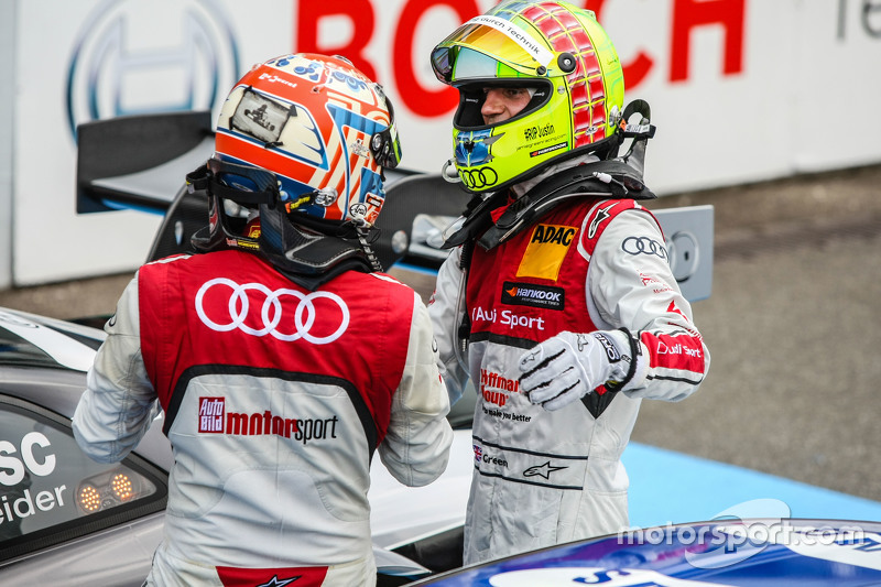 Winner Timo Scheider , Audi Sport Team Phoenix Audi RS 5 DTM and 2nd Jamie Green , Audi Sport Team Rosberg Audi RS 5 DTM