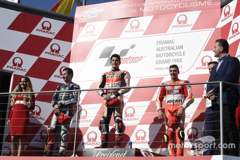 Podium: second place Jorge Lorenzo, Yamaha Factory Racing, race winner Marc Marquez, Repsol Honda Team and third place Andrea Iannone, Ducati Team