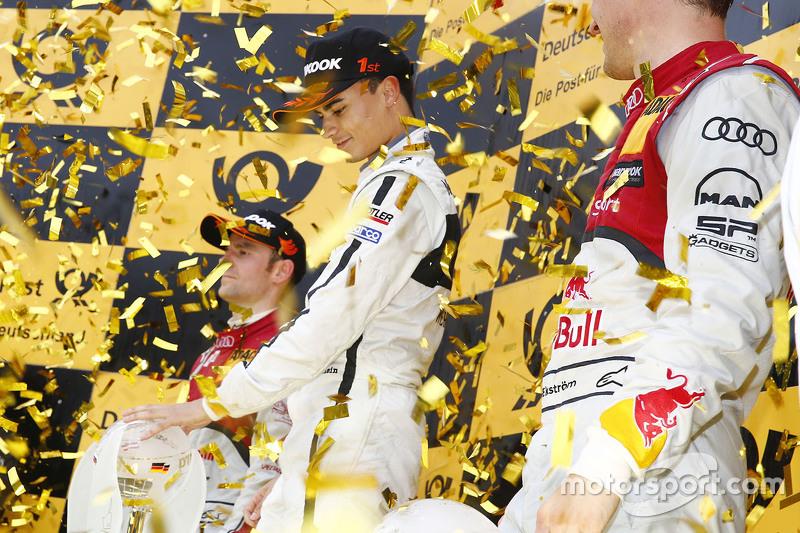 Championship podium: 2015 champion Pascal Wehrlein, HWA AG Mercedes-AMG C63 DTM, second place Jamie Green, Audi Sport Team Rosberg Audi RS 5 DTM, third place Mattias Ekström, Audi Sport Team Abt Sportsline, Audi A5 DTM