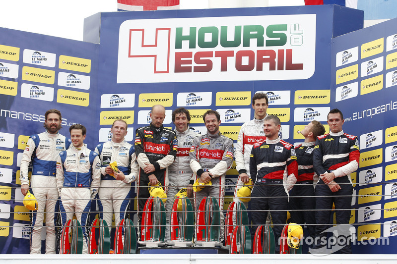 Podium: race winners Pierre Thiriet, Ludovic Badey, Nicolas Lapierre, Thiriet by TDS Racing, second place Gary Hirsch, Bjorn Wirdheim, Jon Lancaster, third place Mikhail Aleshin, Kiriil Ladygin, Victor Shaitar, SMP Racing