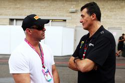 (L to R): Matt LeBlanc, Actor with Federico Gastaldi, Lotus F1 Team Deputy Team Principal