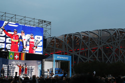 Podio: Ganador Sébastien Buemi, Renault e.Dams, el segundo lugar Lucas di Grassi, ABT Schaeffler Audi Sport, y el tercer lugar Nick Heidfeld, Mahindra Racing