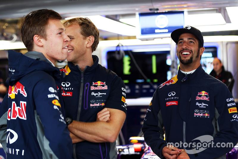 (L to R): Daniil Kvyat, Red Bull Racing with Christian Horner, Red Bull Racing Team Principal
