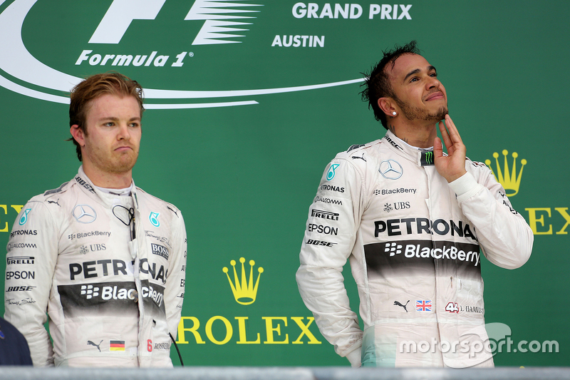 Podium: Race winner and World Champion Lewis Hamilton, Mercedes AMG F1 Team and third place Sebastia