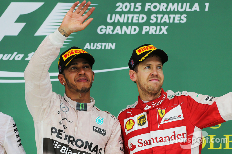 Podium: Race winner and World Champion Lewis Hamilton, Mercedes AMG F1, and third place Sebastian Vettel, Ferrari
