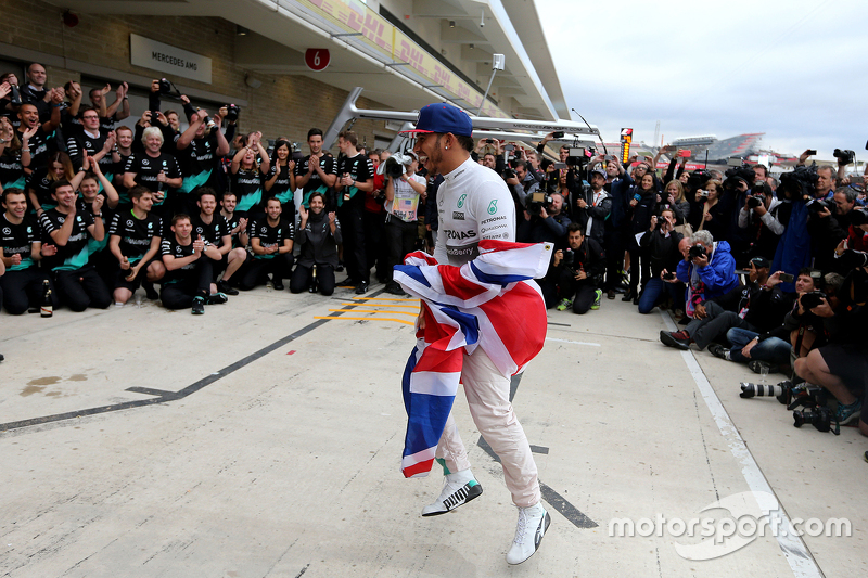 Lewis Hamilton, Mercedes AMG F1 Team celebrates his third world champion title