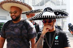 Lewis Hamilton, Mercedes AMG F1 wearing a sombrero