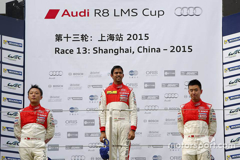 Podium: winner Aditya Patel, Team Audi R8 LMS Cup, second place Marchy Lee, Audi Hong Kong Team, thi